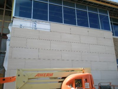 Exterior stone panels being installed at David's in Maryland.