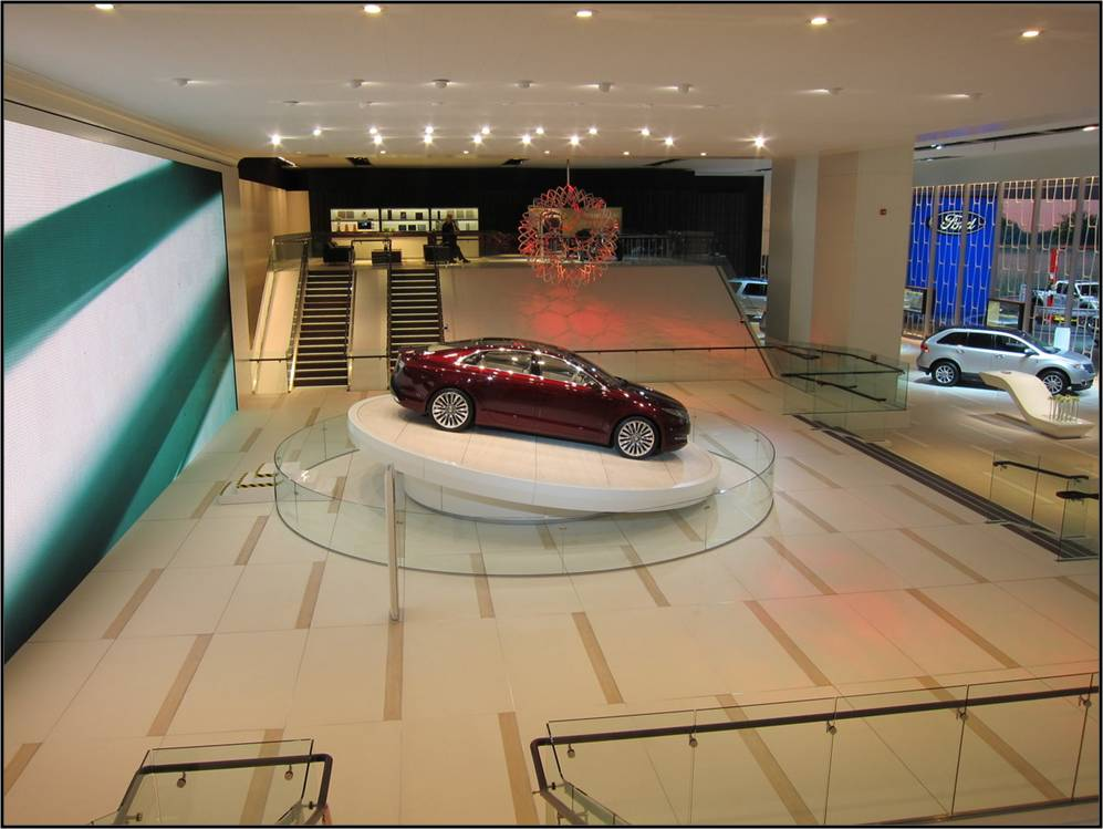 Raised flooring made with Trimstone Lightweight Stone Panels at the North American Auto Show supports cars and guests alike.
