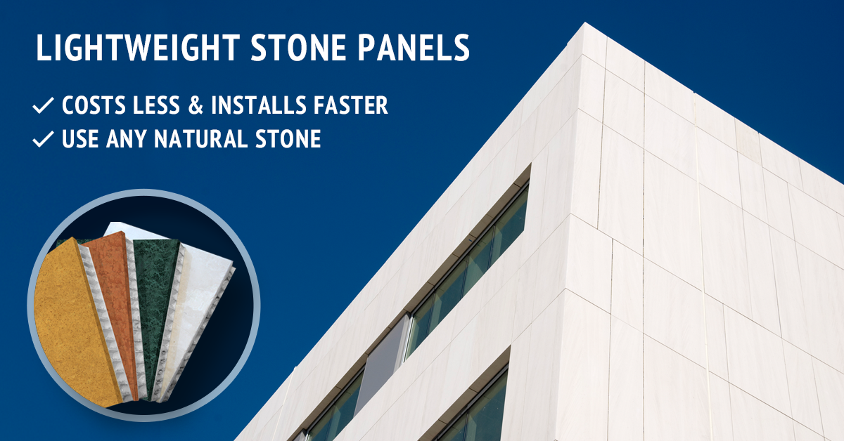 Trimstone® is a lightweight stone honeycomb panel system, comprised of natural stone veneer securely bonded to high-strength, aviation-grade, aluminum honeycomb panels.